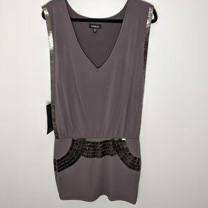 Bebe midi grey/dark mauve dress